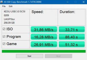 KESU usb 3.0 copy benchmark