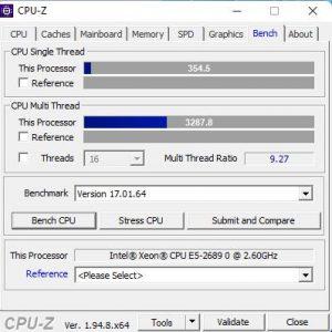 Windows 11 CPU-Z Test E5-2689